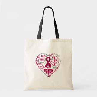 Multiple Myeloma Awareness Heart Words Canvas Bag