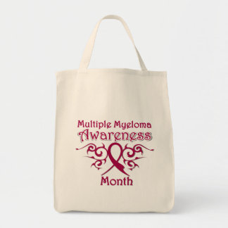 Multiple Myeloma Awareness Month Tribal Ribbon Grocery Tote Bag