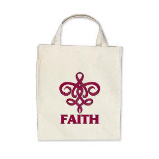 Multiple Myeloma Faith Fleur de Lis Ribbon Canvas Bag