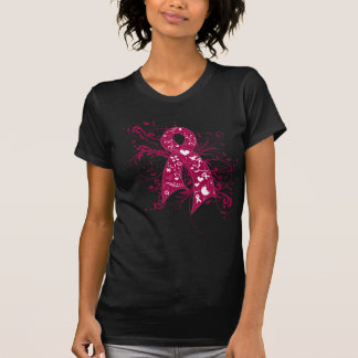 Multiple Myeloma Floral Swirls Ribbon Tshirts