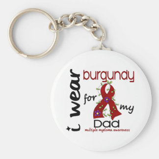 Multiple Myeloma I WEAR BURGUNDY FOR MY DAD 43 Basic Round Button Key Ring