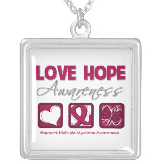 Multiple Myeloma Love Hope Awareness Square Pendant Necklace