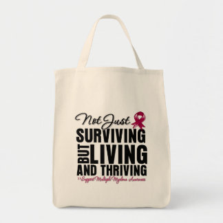 Multiple Myeloma Not Just Surviving But Living Grocery Tote Bag
