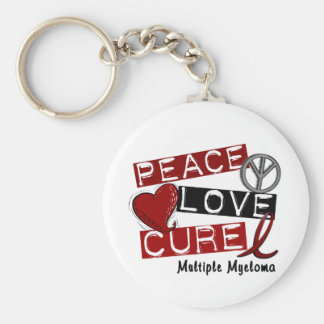 Multiple Myeloma PEACE LOVE CURE 1 Basic Round Button Key Ring