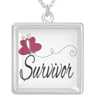 Multiple Myeloma Survivor Butterfly Ribbon Square Pendant Necklace
