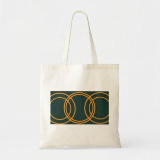 Multiple orange circles emerald green bag