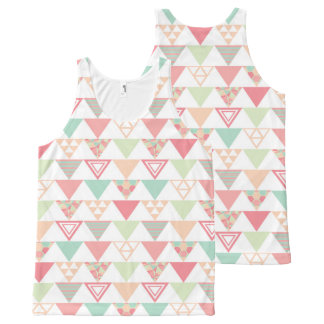 Multiple Pastel Triangles Pattern All-Over Print Tank Top