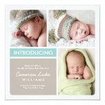 Multiple Photo Birth Announcement | Aqua Taupe 13 Cm X 13 Cm Square Invitation Card