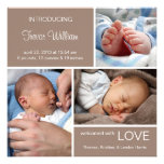 Multiple Photo Birth Announcement//Chocolate Brown