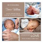 Multiple Photo Birth Announcement//Chocolate Brown 13 Cm X 13 Cm Square Invitation Card