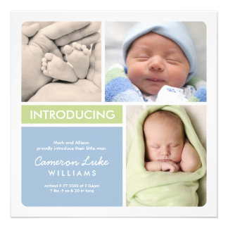 Multiple Photo Birth Announcement Green Blue