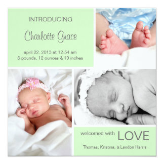 Multiple Photo Birth Announcement//Light Green Card