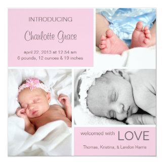 Multiple Photo Birth Announcement//Light Pink Card