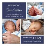 Multiple Photo Birth Announcement//Navy Blue Denim 13 Cm X 13 Cm Square Invitation Card