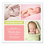Multiple Photo Birth Announcement | Pink Green