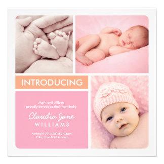 Multiple Photo Birth Announcement   Pink Orange