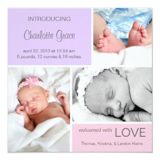 Multiple Photo Birth Announcement//Pink Purple Card