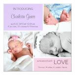 Multiple Photo Birth Announcement//Pink Purple 13 Cm X 13 Cm Square Invitation Card