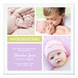 Multiple Photo Birth Announcement | Purple Green 13 Cm X 13 Cm Square Invitation Card