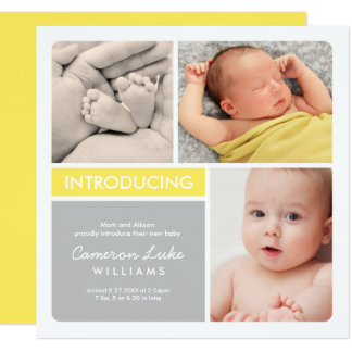 Multiple Photo Birth Announcement | Yellow & Gray