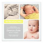 Multiple Photo Birth Announcement | Yellow & Grey