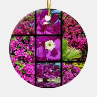 Multiple photos of bougainvillea christmas ornament