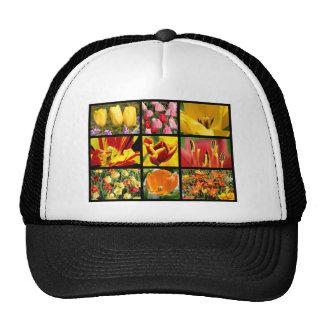 Multiple photos of tulip flowers trucker hats