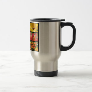 Multiple photos of tulip flowers coffee mugs