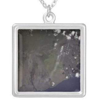 Multiple plumes blow toward the south-southwest silver plated necklace