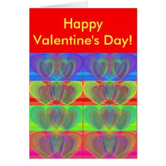Multiple Rainbow Hearts Greeting Card