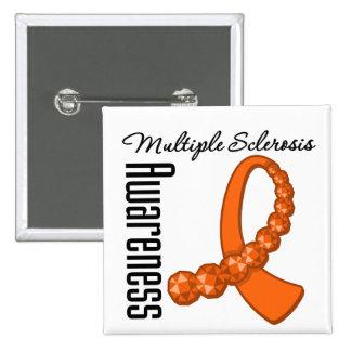 Multiple Sclerosis Awareness Gemstone Ribbon 15 Cm Square Badge