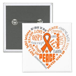 Multiple Sclerosis Awareness Heart Words 15 Cm Square Badge