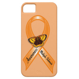 Multiple Sclerosis Awareness Ribbon with Butterfly iPhone 5 Cases