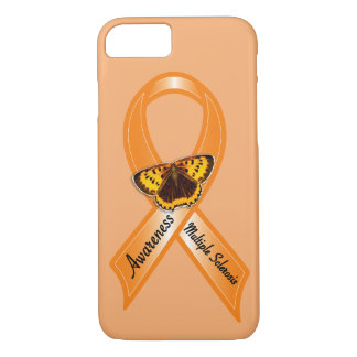 Multiple Sclerosis Awareness Ribbon with Butterfly iPhone 7 Case