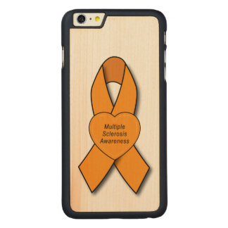 Multiple Sclerosis Awareness Ribbon with Heart Carved® Maple iPhone 6 Plus Case