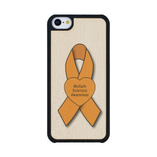 Multiple Sclerosis Awareness Ribbon with Heart Carved® Maple iPhone 5C Slim Case