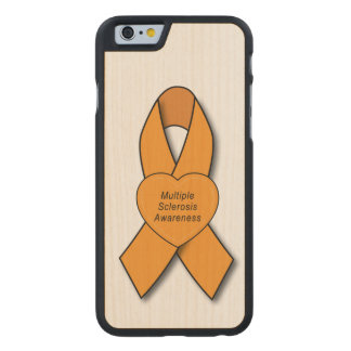 Multiple Sclerosis Awareness Ribbon with Heart Carved® Maple iPhone 6 Slim Case
