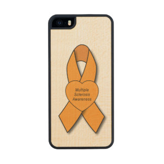 Multiple Sclerosis Awareness Ribbon with Heart Wood iPhone SE/5/5s Case