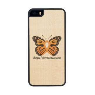Multiple Sclerosis Butterfly Awareness Ribbon Wood iPhone SE/5/5s Case