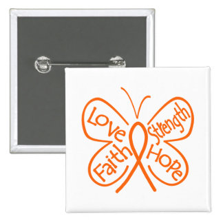 Multiple Sclerosis Butterfly Inspiring Words 15 Cm Square Badge
