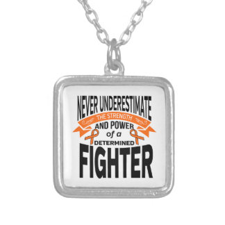 Multiple Sclerosis Determined Fighter Square Pendant Necklace