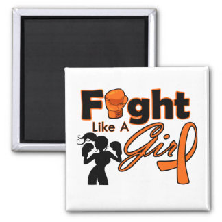 Multiple Sclerosis Fight Like A Girl Silhouette Square Magnet