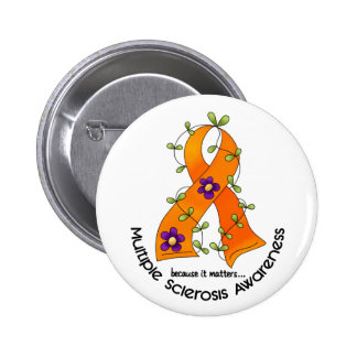 Multiple Sclerosis FLOWER RIBBON 1 6 Cm Round Badge