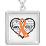 Multiple Sclerosis Heart Ribbon Collage Pendant