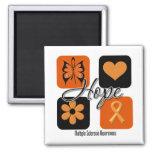 Multiple Sclerosis Hope Love Inspire Awareness Square Magnet