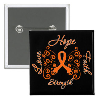 Multiple Sclerosis Hope Motto Butterfly 15 Cm Square Badge