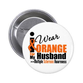 Multiple Sclerosis I Wear Orange For My Husband 6 Cm Round Badge