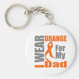Multiple Sclerosis I Wear Orange Ribbon Dad Keychains
