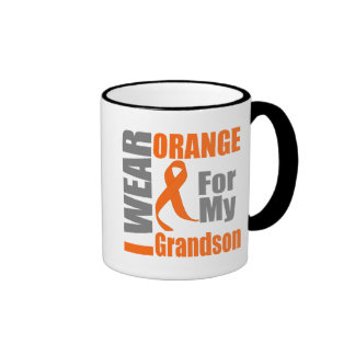 Multiple Sclerosis I Wear Orange Ribbon Grandson Ringer Mug
