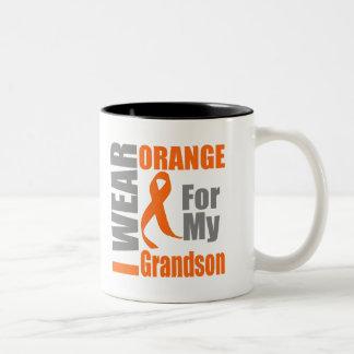 Multiple Sclerosis I Wear Orange Ribbon Grandson Two-Tone Mug